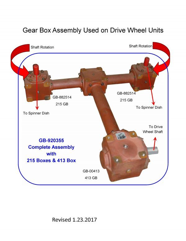 Gear Box for ground drive pull type dry fertilizer lime spreader
